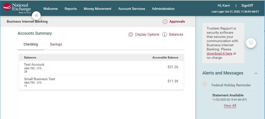 Business Internet Banking Digital 1 Screen
